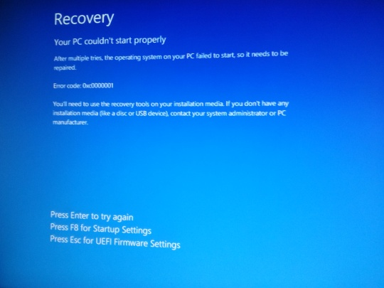 Windows 10 - Recovery blue screen